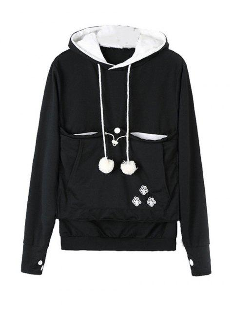 Casual Style Hoodie Animal Ear Long Sleeves Hooded - BLACK M