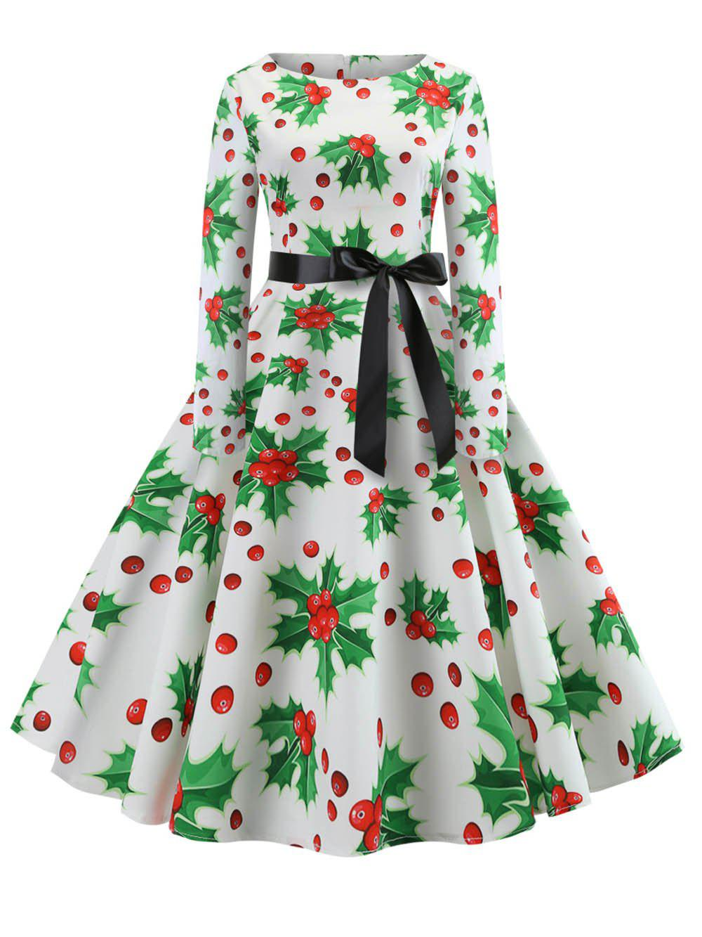 Hepburn Vintage Series Women Dress Spring And Winter Round Neck Christmas Printing Stitching Design Long Sleeve Belt Corset Retro Dress - WHITE S