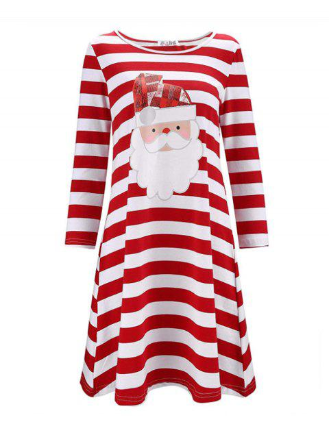 Christmas Print Stripe Casual Dress - 005 XL