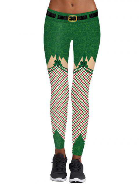 Womens  Print Ankle Length Skinny Christmas Leggings - GREEN XL