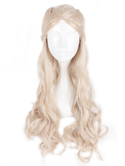 Women's Silver Long Curle Braids Hair Wig Ladies Cosplay Wig - CHAMPAGNE 28INCH