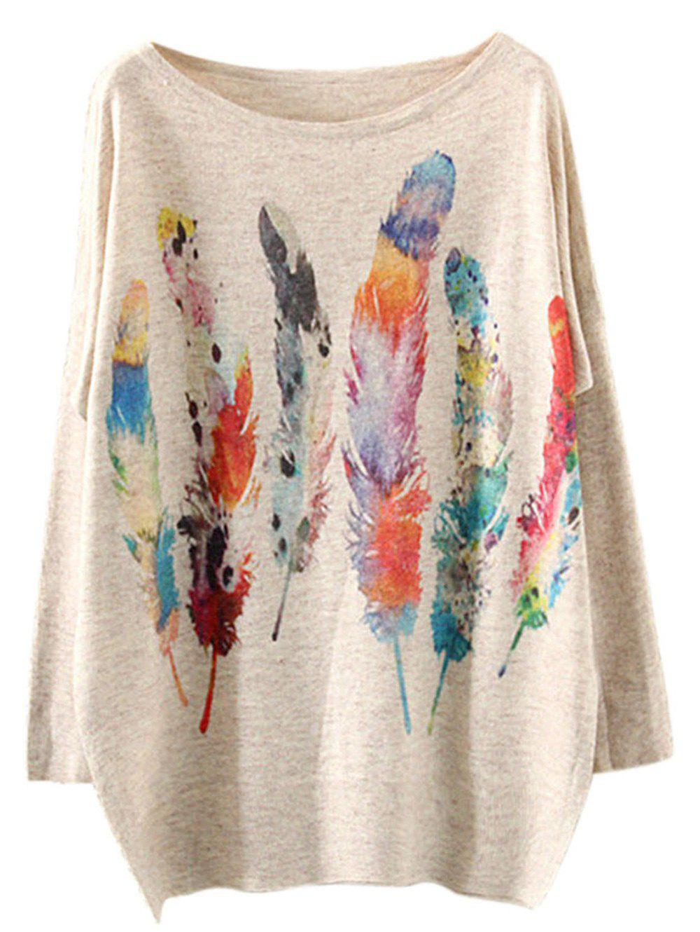 Colorful Feather Loose Printed Sweater - BEIGE ONE SIZE