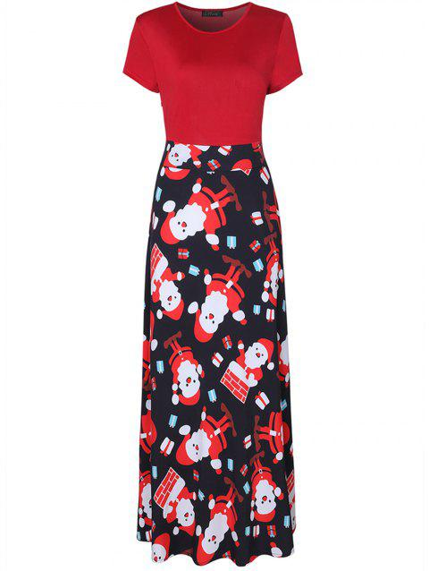 Constrasting Color Floral Maxi Dress - RED XL