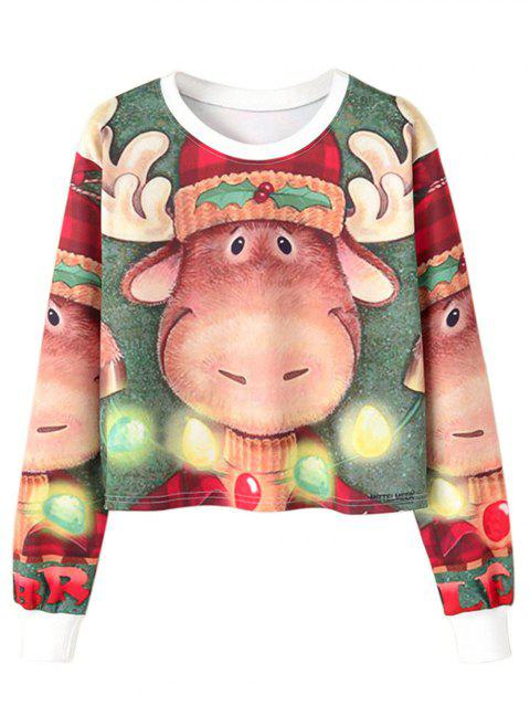 Christmas Reindeer Printed Crop Top - multicolor S