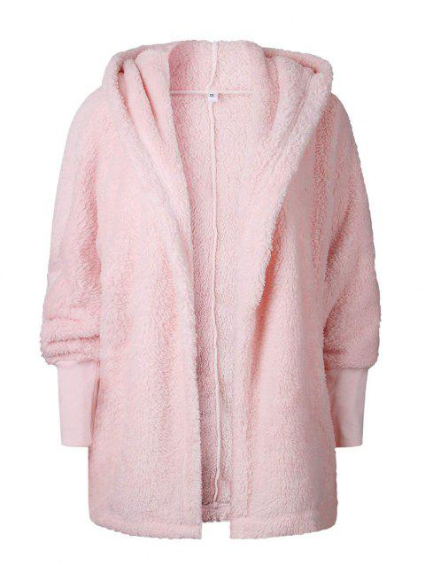 Lapels cardigans medium length plush hoodies coats - PINK XL