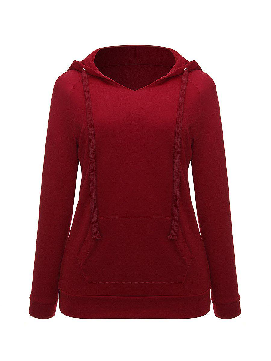 V Neck Long Sleeve Casual Hoodie - RED WINE 2XL