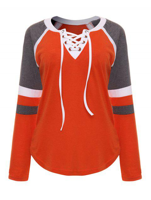 Colored Splice Lace-up Tops - TANGERINE 2XL
