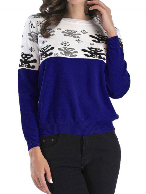 Color Patchwork Printed Round Neck Sweaters