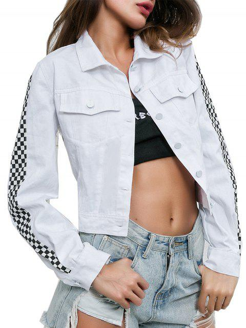 Open Umbilical Stitching Street Casual Jacket - WHITE S