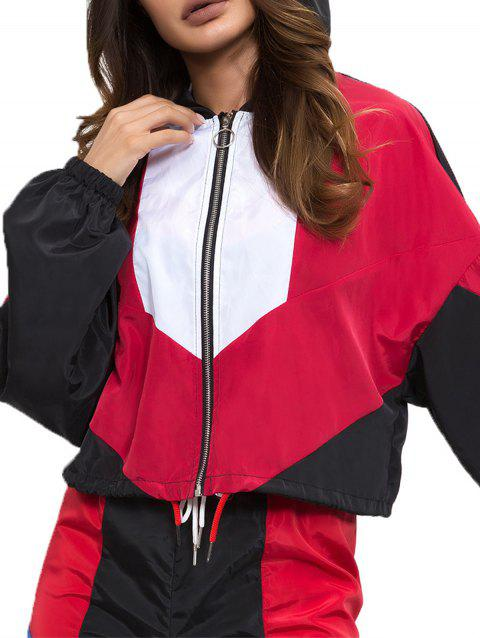 Colorblock Lapel Long Sleeved Jacket - RED M