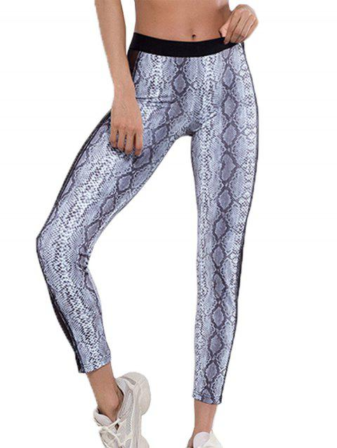 Slim-fit Mesh Gauze Stitching Serpentine Yoga Pants - multicolor A L
