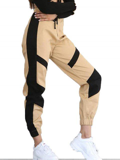 High Waist Color Matching Casual Pants - TAN M