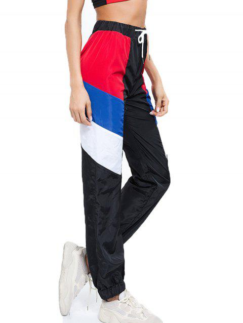 Color Matching Drawstring Casual Beam Pants - BLACK L