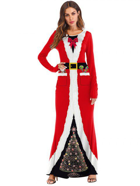 f2428f7abd5c Women Casual Christmas Print Long Sleeve Round Neck Long Maxi Dresses - RED  XL