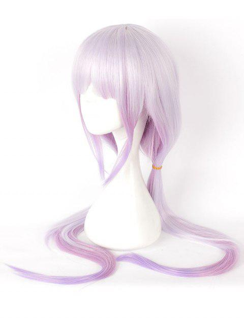 Women's Fashion Colors Highlights Purple Long Straighter Cosplay Wig - multicolor