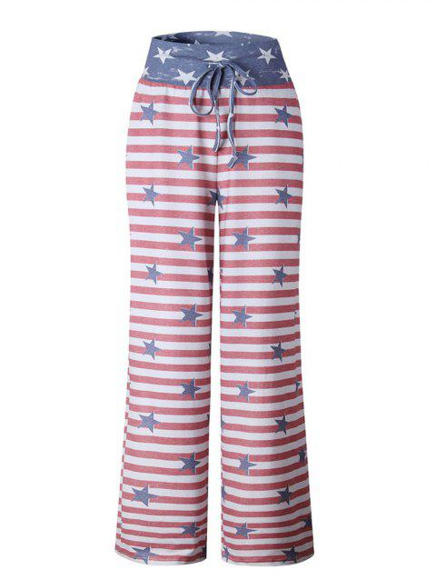 Womens  Striped Drawstring Wide Leg High Waisted Pajama Pants - RED XL