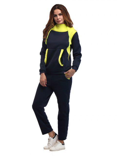 Constrast Color Thick Hoodie Pants Sets - CADETBLUE M