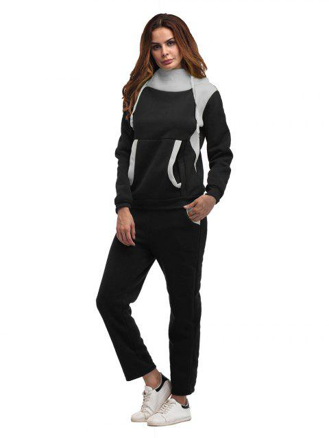 Constrast Color Thick Hoodie Pants Sets - BLACK 2XL