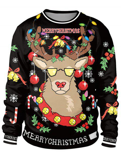 Unisex Funny 3D Graphic Print Reindeer Christmas  Sweatshirt for Xmas Party - BLACK M