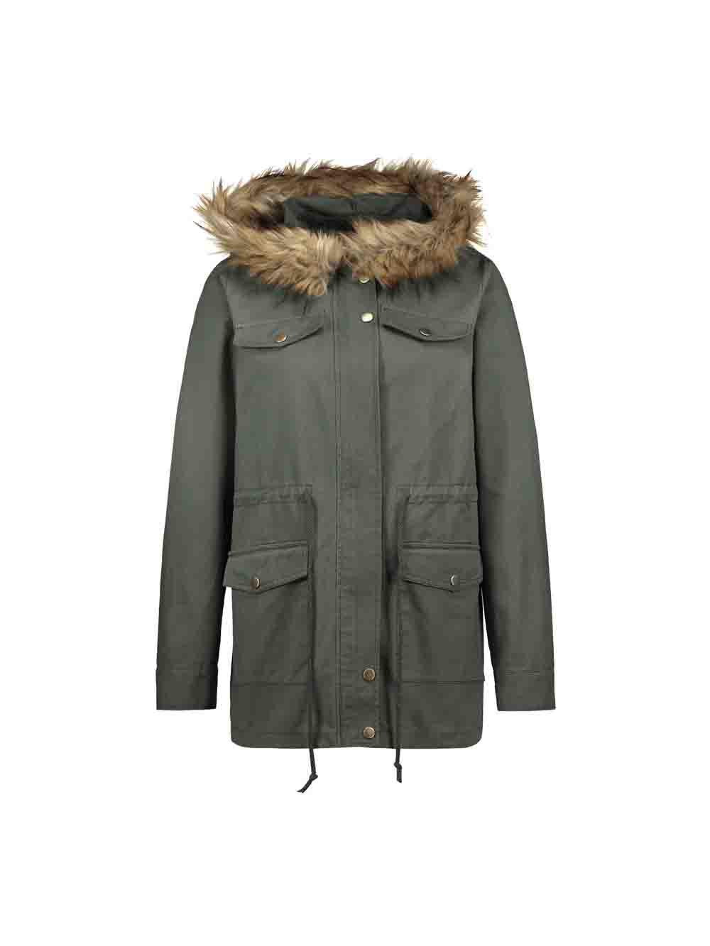 Casual Parka Coats Military Faux Fur Hooded Trench Jackets - ARMY GREEN M