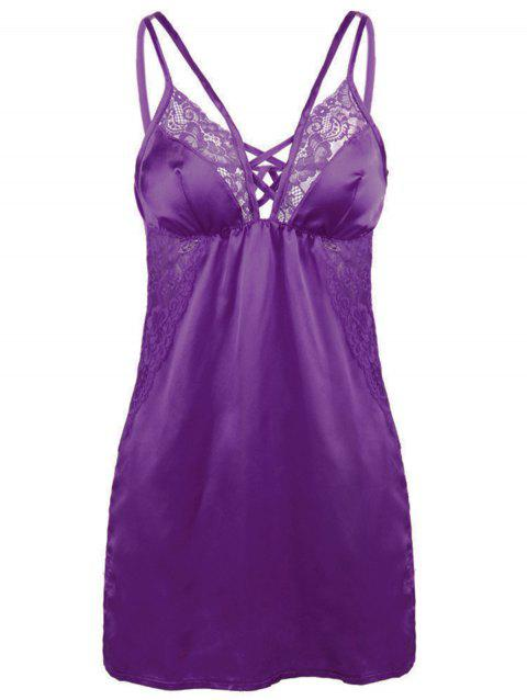 Women Sexy Shoulder Strap Imitated Silk Fabric Babydoll Lingeries Sleepdress - PURPLE S