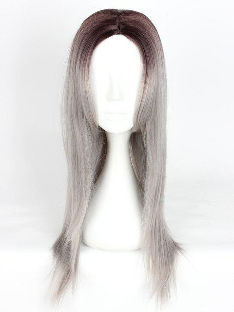 Women's Fashion Long Straight Highlights Hair Wig Colorful Casual Party Wig - 002