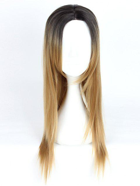 Women's Fashion Long Straight Highlights Hair Wig Colorful Casual Party Wig - 004