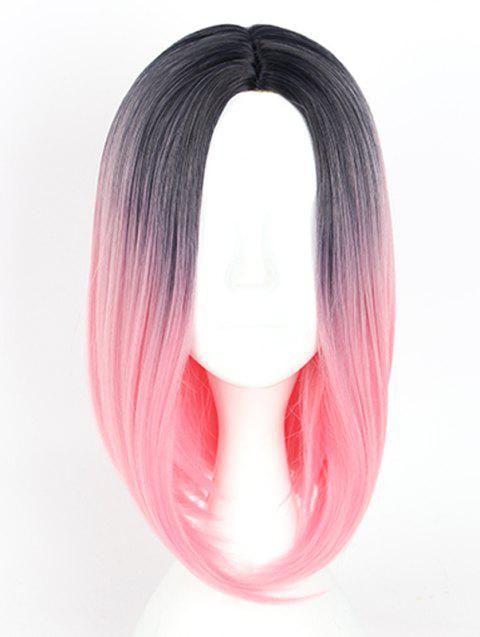 Women's Colorful Highlights Natural Straight Hair Wig Ladies Casual Short Wig - 001