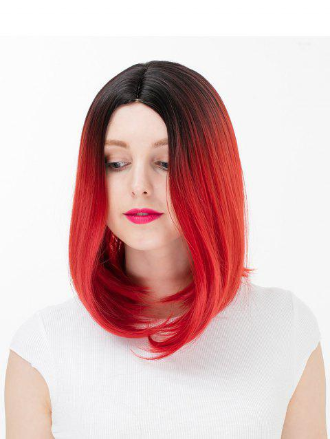 Women's Colorful Highlights Natural Straight Hair Wig Ladies Casual Short Wig - 002