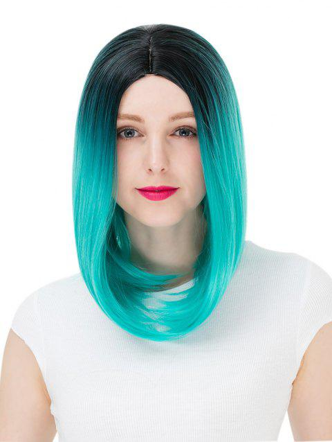 Women's Colorful Highlights Natural Straight Hair Wig Ladies Casual Short Wig - 004