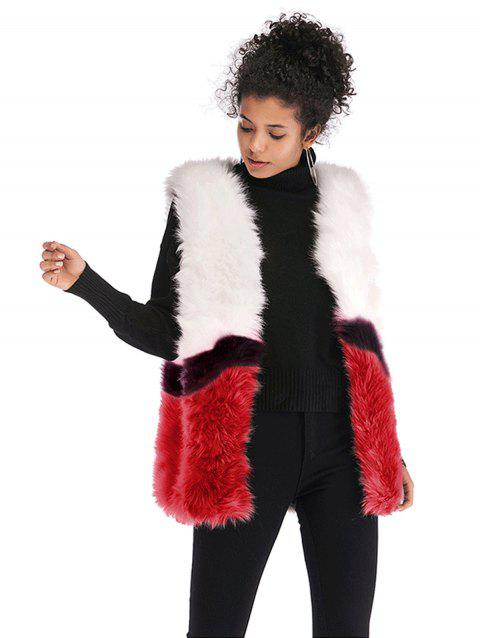 Women  Winter Fur Shawl Cape  Overcoat Vest Fur Coat - RED L
