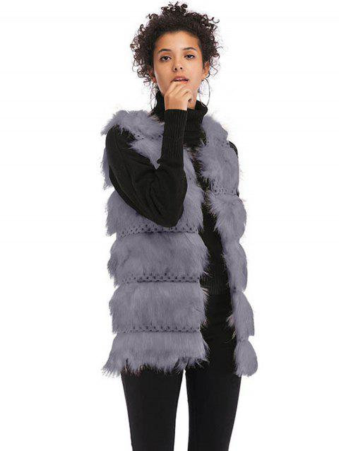 Women Faux Fur Vest Coat Luxury Fashion Fox Fur Coat Jackets - GRAY XL