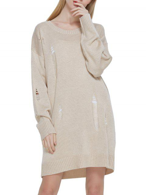 Hollow out Blended Sweater Dress - APRICOT ONE SIZE