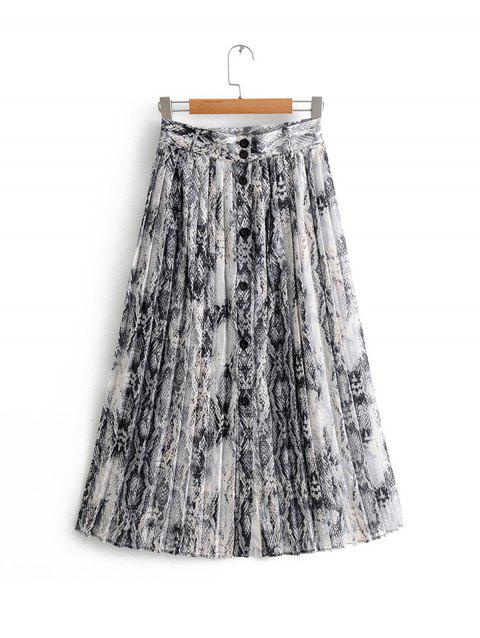 Pleated Animal Floral Skirt - GRAY L