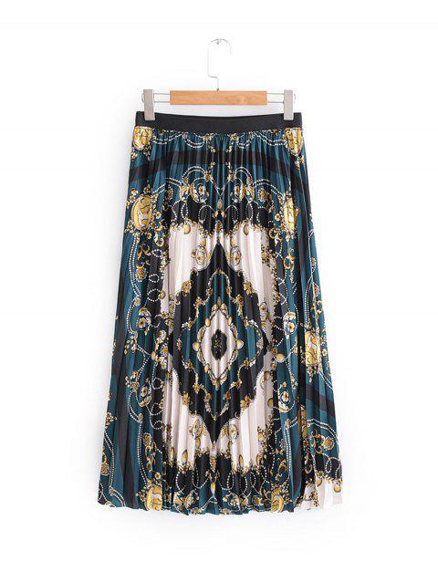 Pleated Floral Skirt - DEEP GREEN L