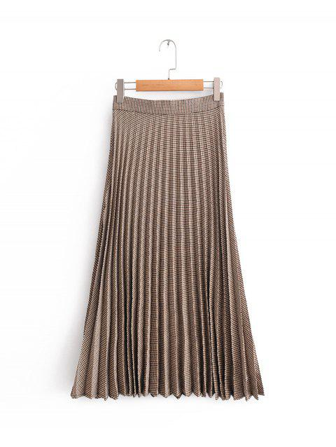 Pleated Plaided Skirt - DEEP BROWN L