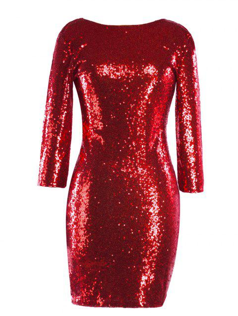 Sequinned Backless Slim One-step Dress - RED L
