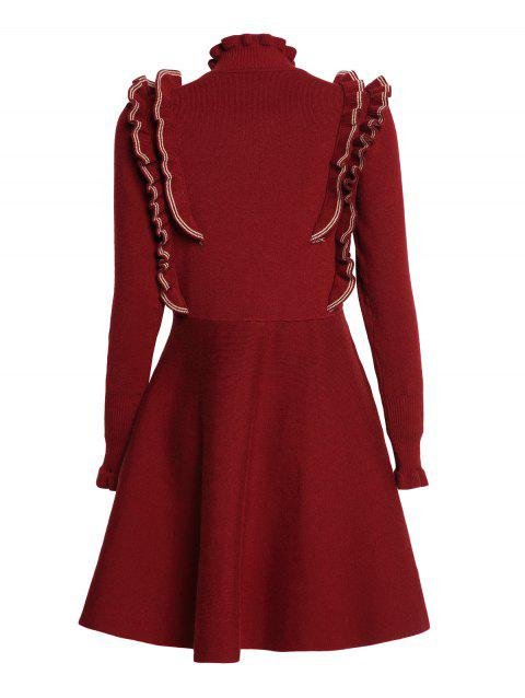 Covering Yarn Flared Dress - RED WINE ONE SIZE