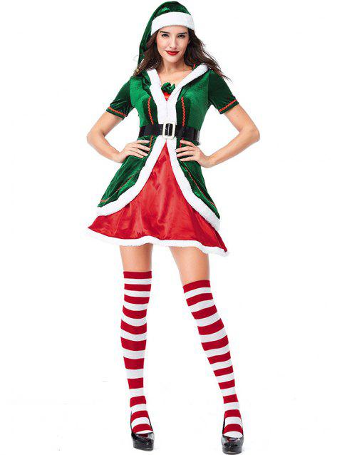 Women's Christmas Party Costumes Dress Cosplay Elf Clothes Sets - multicolor M