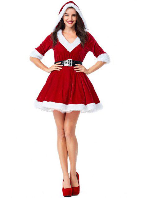 Women's Christmas Party Sexy V Collar Half Sleeve Hooded Dress - RED L