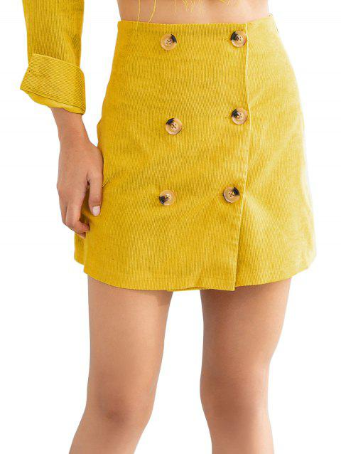 Double Breast A-line Skirt - YELLOW S
