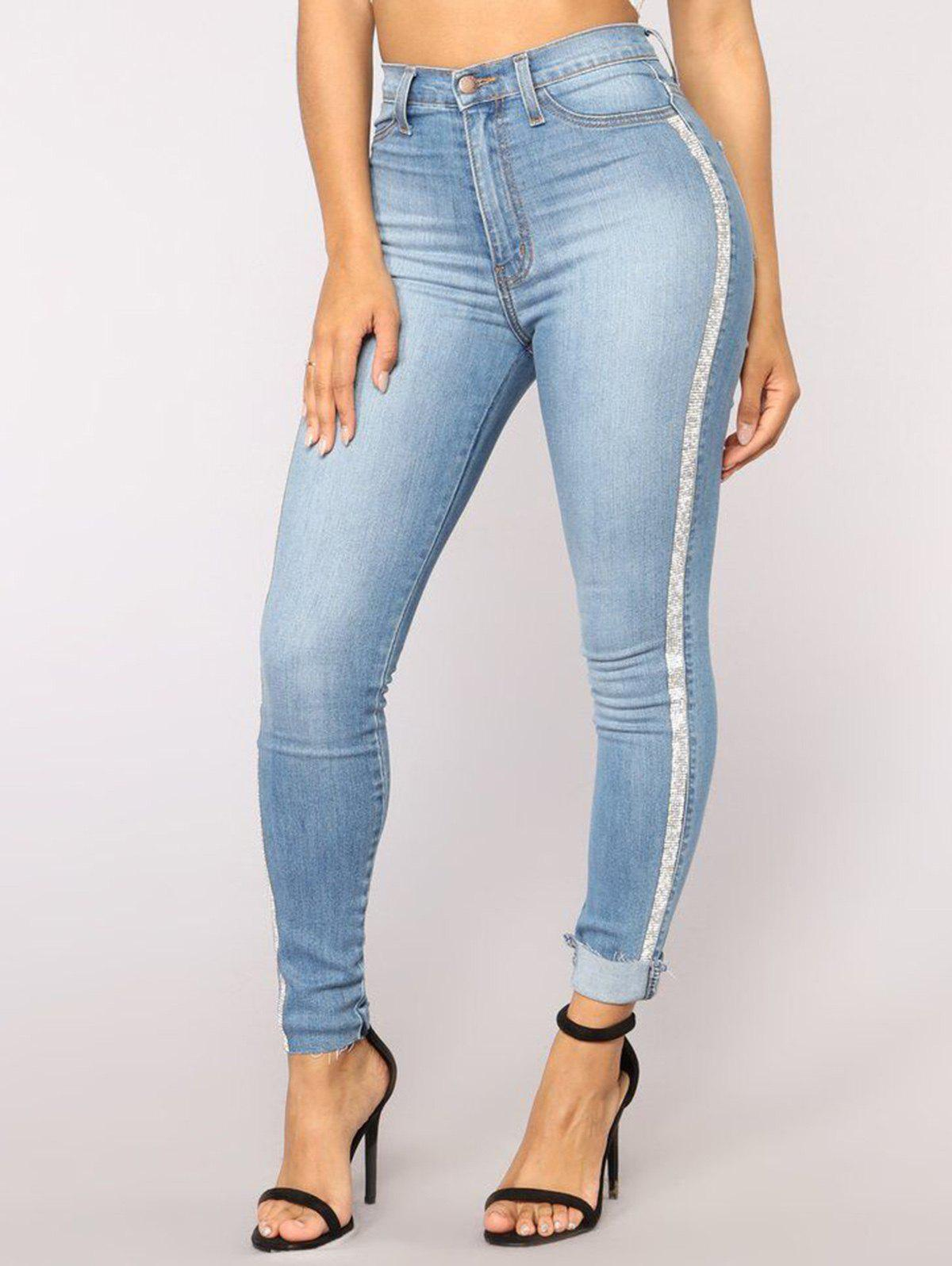 Womens Casual Trendy Pencil Stretch Skinny Jeans - BLUE L
