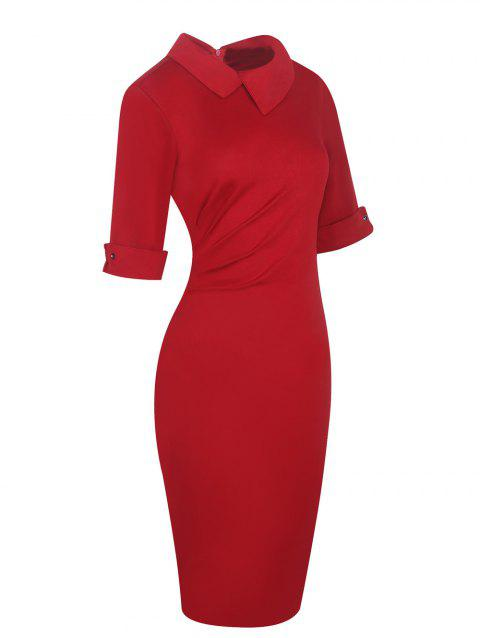 Half Sleeve Lapel Pencil Dress