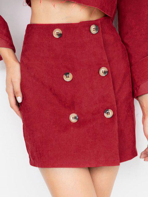 Double Breast A-line Skirt - RED L