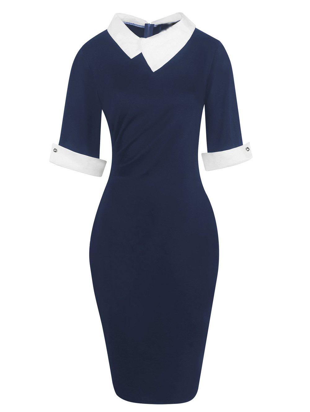 Half Sleeve Lapel Pencil Dress - DEEP BLUE 2XL