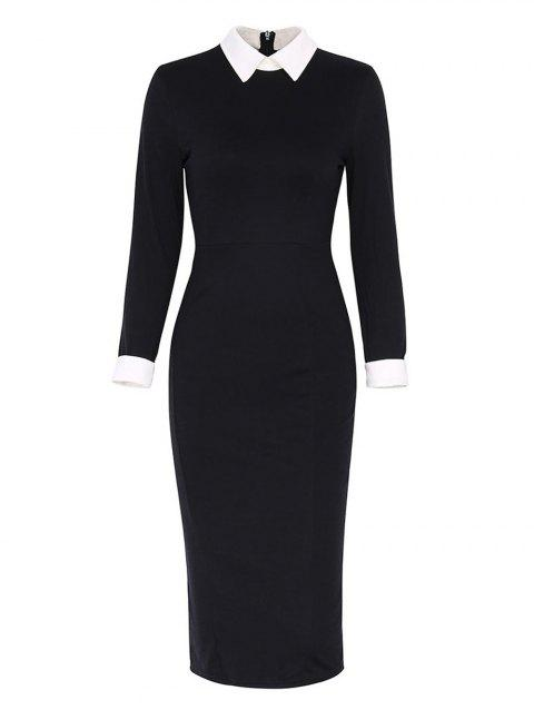 Lapel Collar Long Sleeve Bodycon Pencil Dress - BLACK S