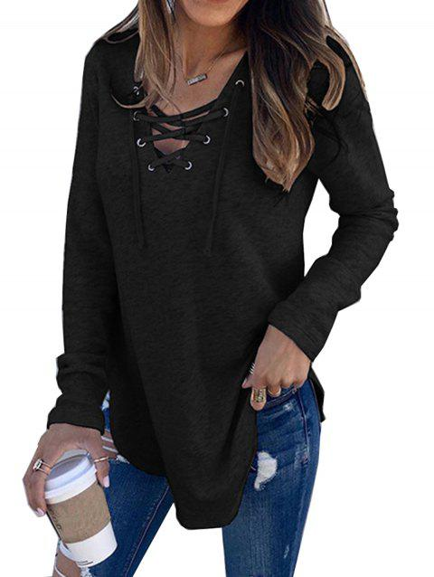 Women V Neck Long Sleeve Loose Casual Knit Sweaters Pullover Tops - BLACK L