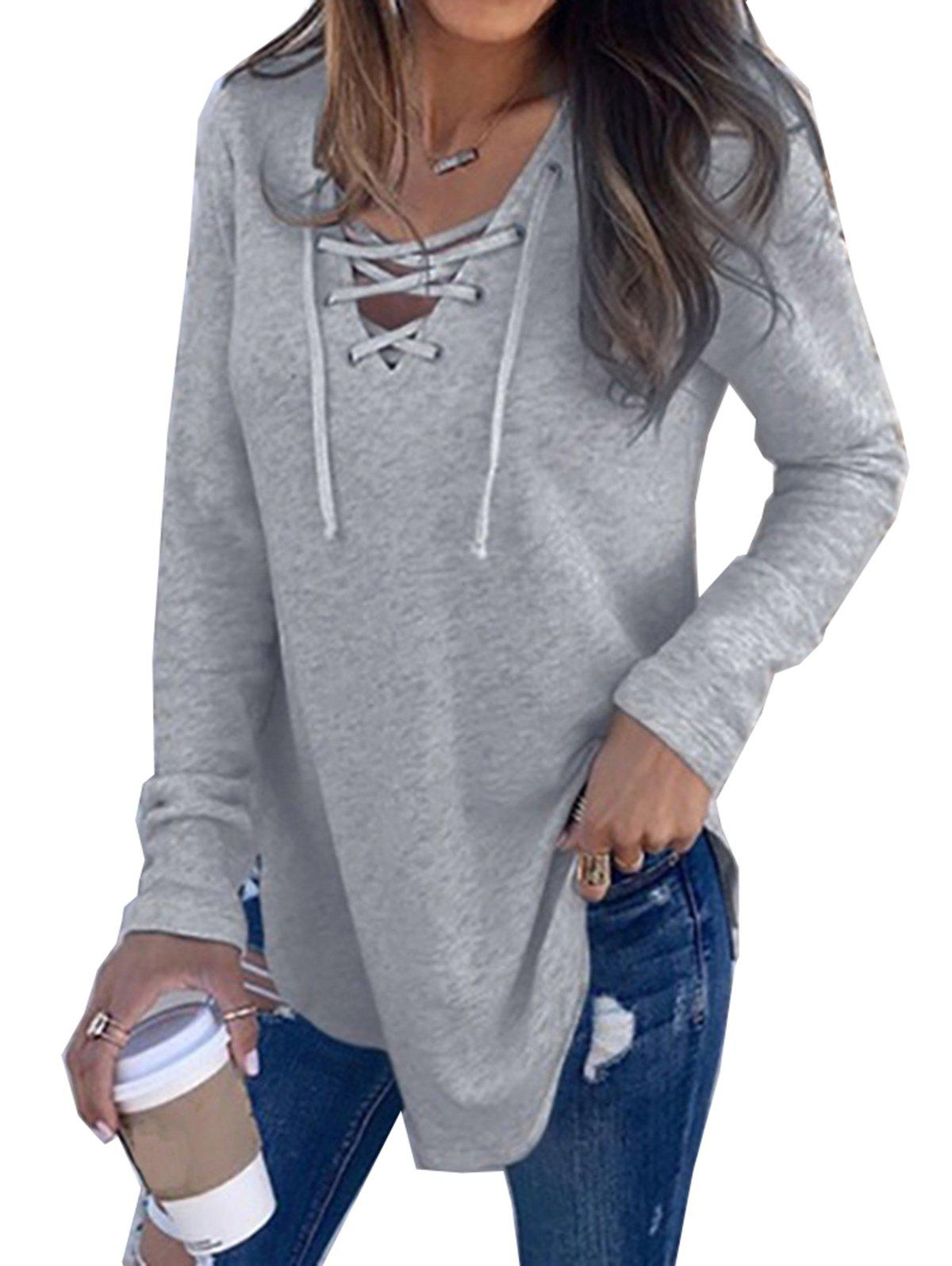 Women V Neck Long Sleeve Loose Casual Knit Sweaters Pullover Tops, Gray