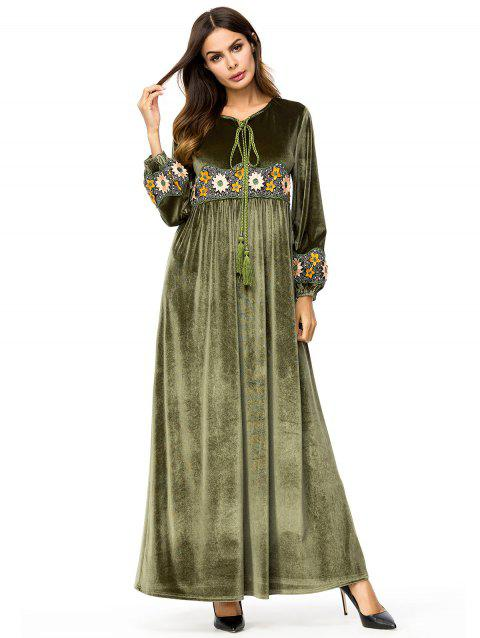 Loose Ethical Embroidery Long Velvet Dress - ARMY GREEN M