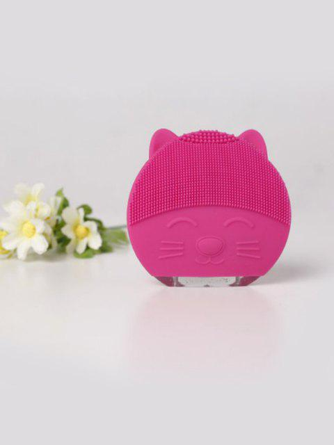 Cute Cartoon Mini Electric Facial Cleaning Brush Ultrasonic Vibration Face Skin Care Massager Silicone Face Cleansing Wash Brush - ROSE RED